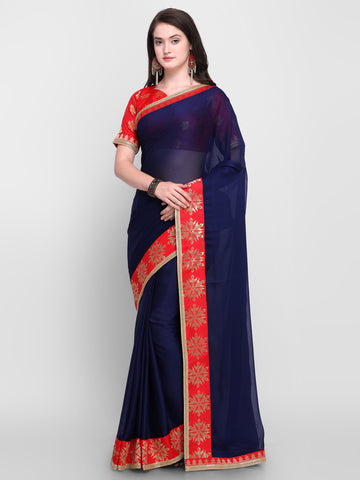 Designer Sarees - Navy Blue & Red Pure Chiffon Solid Saree