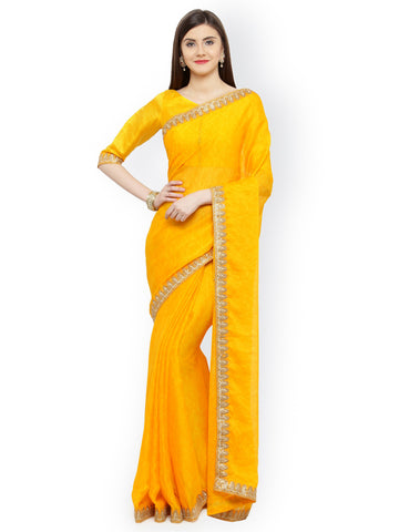 Designer Sarees - Yellow Pure Silk Embellished Saree