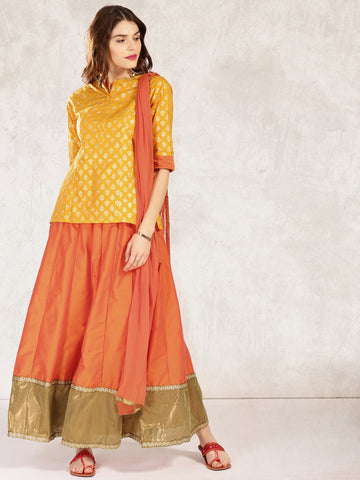 Designer Short Kurta With Skirt Yellow & Orange Printed Kurti with Skirt & Dupatta Set For Women