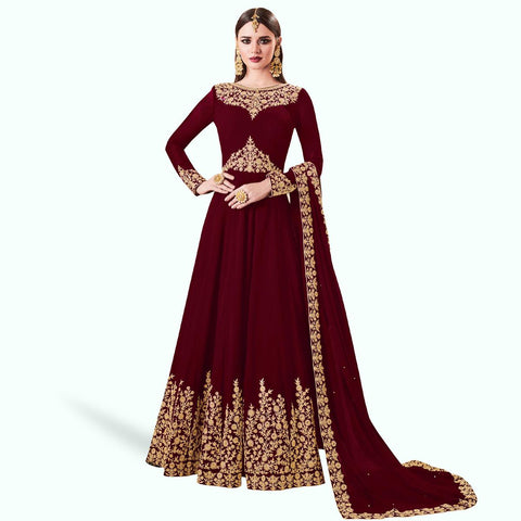 Designer Anarkali Suit -Embroidered Partywear Georgette Anarkali Suit with Dupatta
