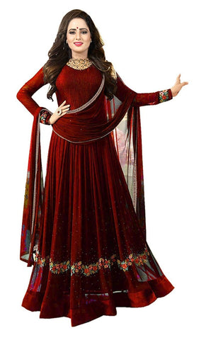 Designer Anarkali Suit - Faux Georgette Fabric Semi Stitched Anarkali Suit with Dupatta
