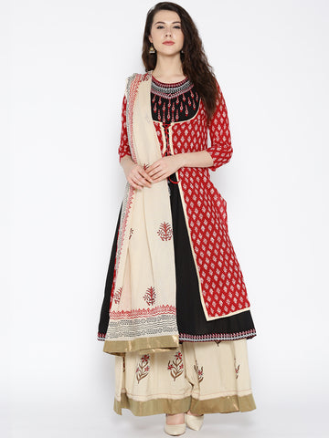 Designer Black & Beige Embroidered Two In One Palazzo Kameez Dupatta Online