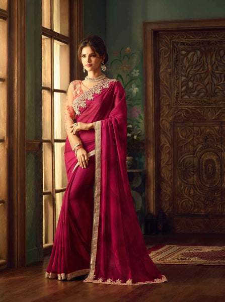 Designer Georgette Sarees Dark Pink Georgette Sarees With Heavy Embroidery & Stone Work Blouse