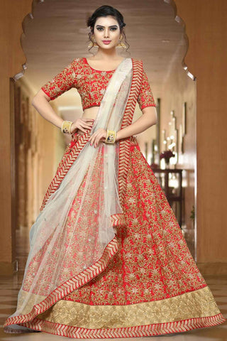 Designer Wedding Lehenga Zari Embroidery & Stone Work Bridal Lehenga Choli