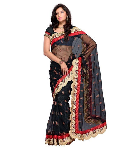 Black Color Net Saree Designed With Resham Butti & Border Work Designer Net Sarees
