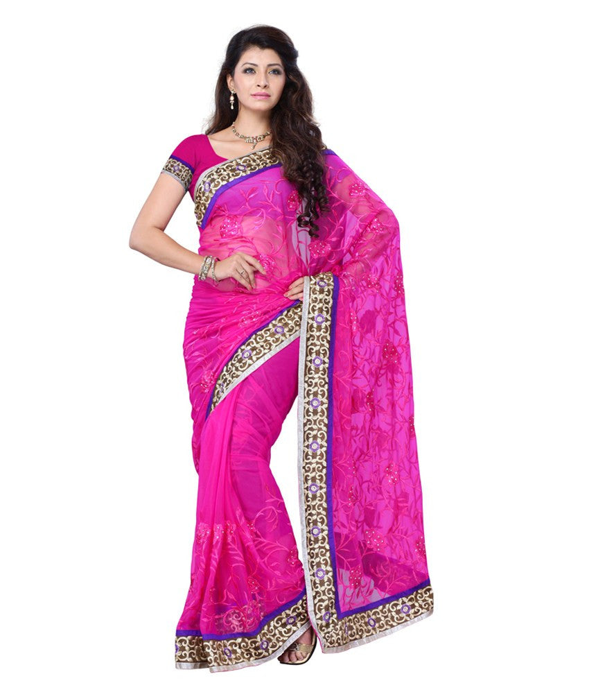 b79a7d44f8 Purchase Now Designer Net Sarees Dark Pink Color With Resham Work & Broad  Lace Border Work Net Saree For Women – Lady India