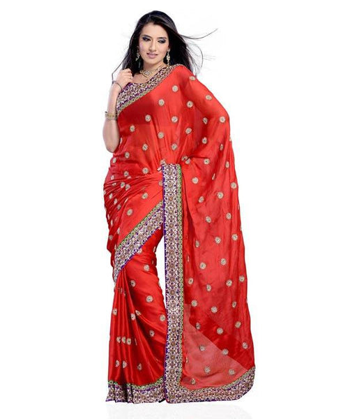 Designer Fashion Red Faux Georgette Heavy Saree Embroidered Wedding Saree