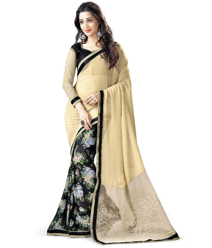 20aaab1778 Party wear Net Saree Black & Beige Color Designer Net Sarees With Digi –  Lady India