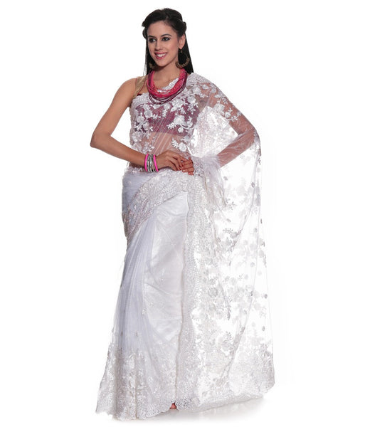 White Color Net Saree Designed With Floral Embroidery & Border Work