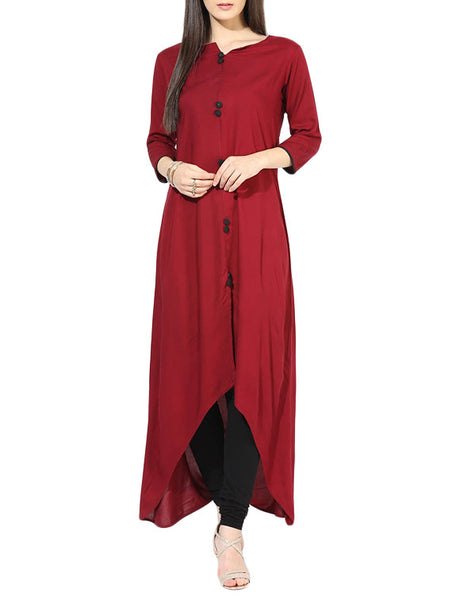 Designer Long Kurti Kurta For Women Maroon Rayon Kurta