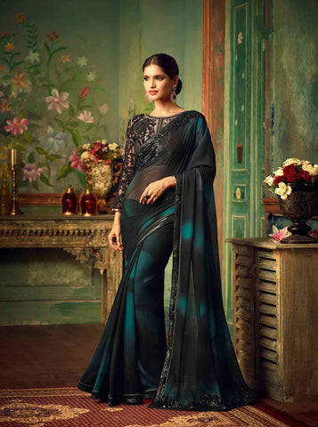 Exclusive Black Color Heavy Embroidered Lace Work Designer Georgette Sarees