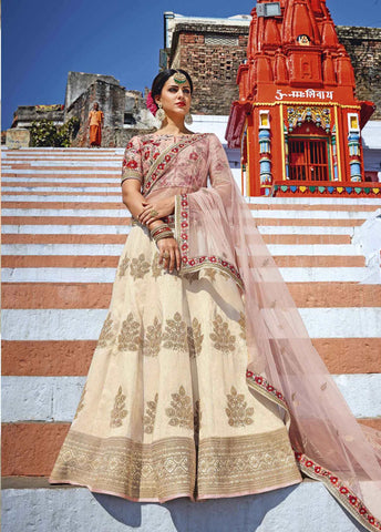 Exclusive Bridal Lehenga Choli Cream Color Royal Art Silk Embroidered Ghagra Choli Bridal
