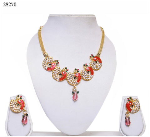 Exclusive Fashion Jewelry Sets Peacock Design Pink Alloy With Moti & Diamond Neck Jewelry