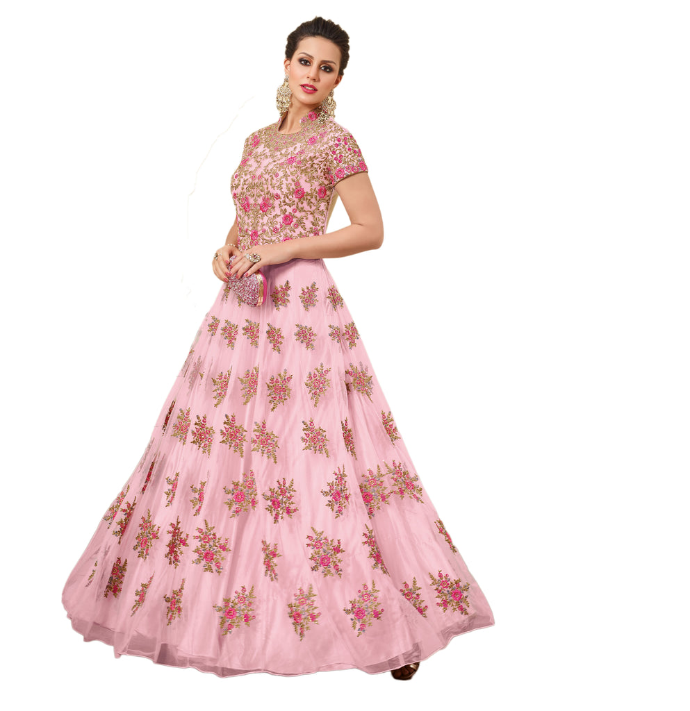 Gown Style Bridal Anarkali Suits Floral Embroidery Work Salwar Suit