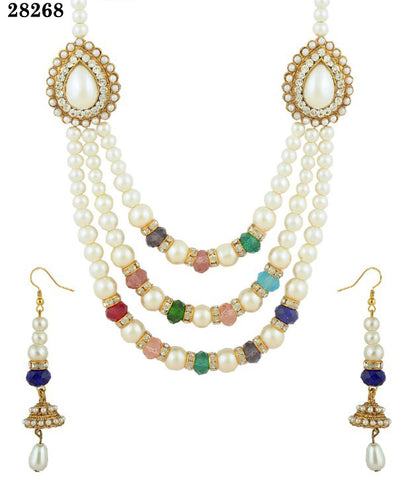 Exclusive Pearl Necklace Multi Colored Alloy With Moti & Diamond Jewelry Necklaces