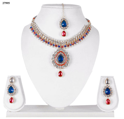 Exclusive Red & Blue Fashion Jewelry Sets Alloy With Moti & Diamond Choker Necklace