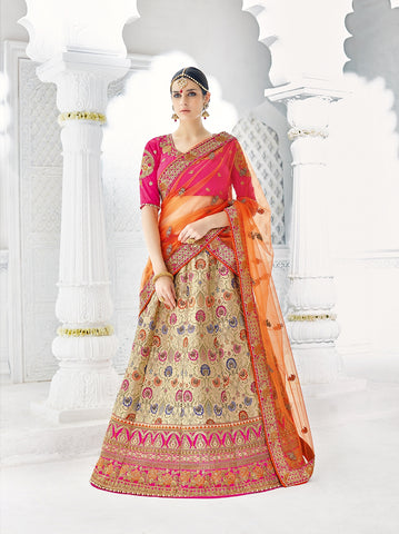 Exclusive Wedding Ghagra Choli Multi Color Zari Embroidery & Stone Work Designer Lehenga Choli