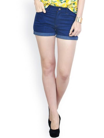 Women-Dark-Blue-Denim-Shorts-Women-Western-Wear