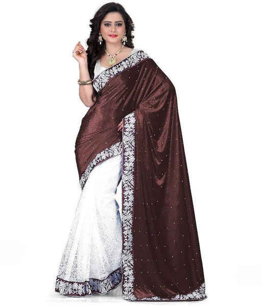Brown & White Designer Velvet Saree White Floral Lace Border Net Saree