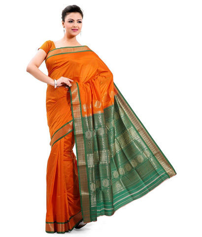 Poly Silk Oragne & Green Saree With Broad Border Saree