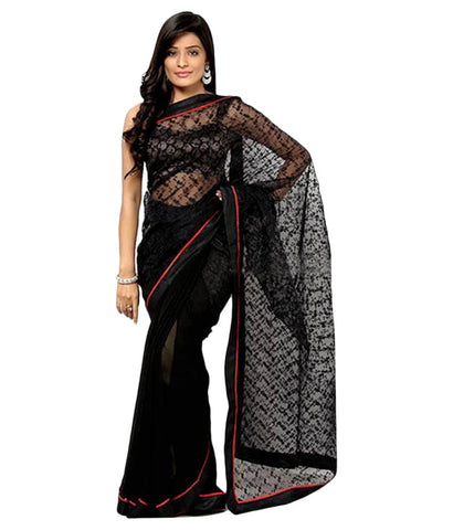 Black Color Net Saree Embroidery & Lace Border Work Designer Net Sarees