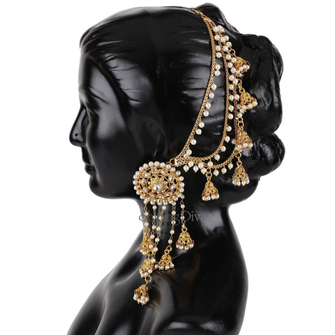 Fashion Gold Plated Fancy Party Wear Earring - Jhumka Earring Chain Jewellery Set