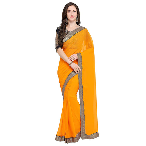 Faux Georgette Plain Saree with Border