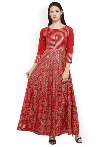 Floral Printed Cotton Silk Anarkali Kurti Red Printed Anarkali Kurta
