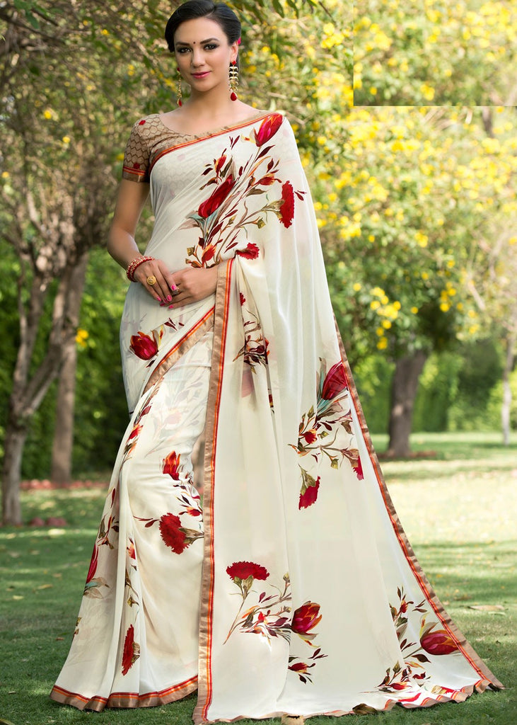 7bb3379c8a0 Floral Printed Georgette Saree – Lady India