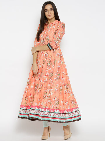 Floral Print Long Anarkalis - Peach-Coloured Printed Anarkali Kurta