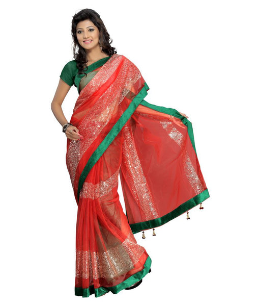 Designer Net Sarees Red Color Silver Stripes Design & Lace Border Work Net Saree For Women