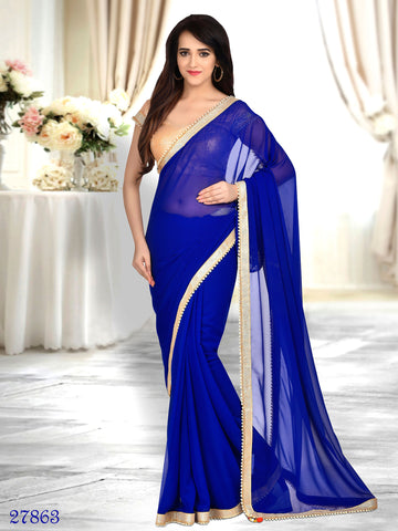 Georgette Sarees Blue Designer Georgette Sarees Lace Border Saree