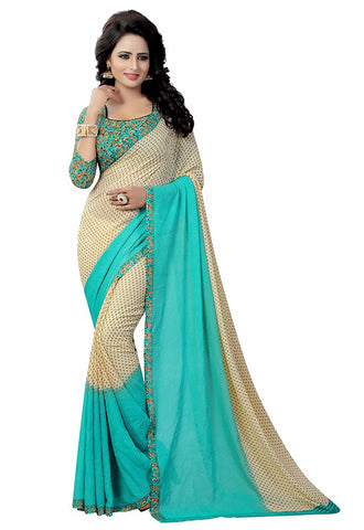 Georgette Sarees Cyan Floral Lace Printed Border Georgette Sarees With Blouse