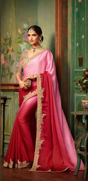 Glamour Silk Sarees Pink & Cherry Heavy Embroidered Lace Work Saree