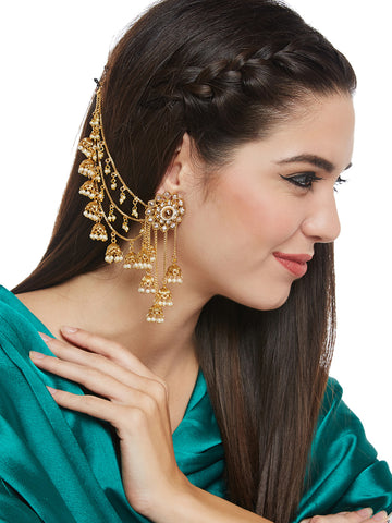 Gold-Toned Classic Jhumkas - Jhumka Earring Chain Jewellery Set