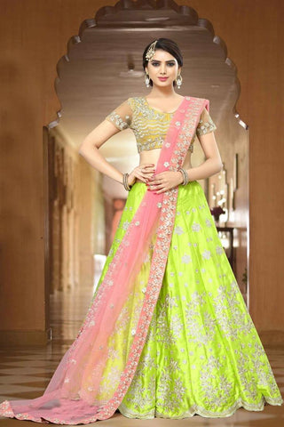 Green Color Wedding Ghagra Choli Zari Embroidery & Stone Work Bridal Lehenga Choli