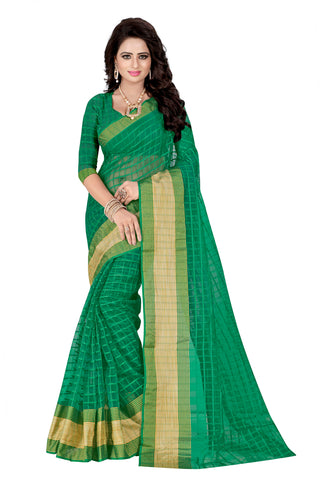 Green Colored Poly Cotton Sarees With Woven Work Printed Sarees