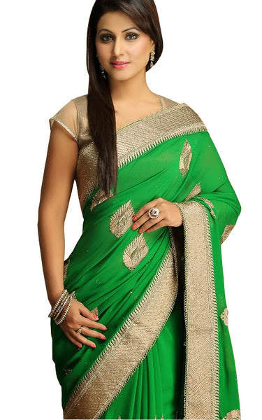 Gorgeous Bollywood Green Party Wear Saree For Women