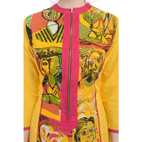 Designer Printed Cotton Yellow Kurti For Women