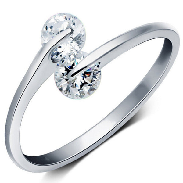 Platinum Plated Austrian Crystal Adjustable Ring For Women