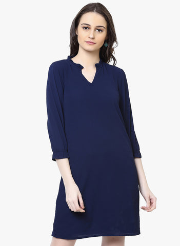 designer-georgette-dress-3/4th-sleeves-navy-blue-solid-shift-dress-sft20