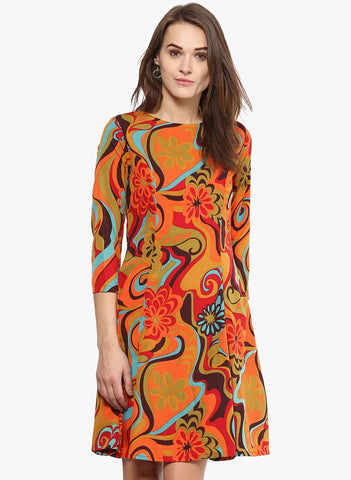 multicolored-printed-shift-dress-3/4th-sleeves-designer-western-wear-sft19