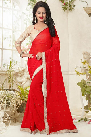 Red Colored Designer Georgette Sarees Pearl Lace Border Georgette Saree