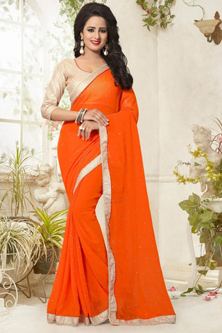Partywear Georgette Sarees Orange Colored With Pearl Lace Border Fancy Georgette Saree