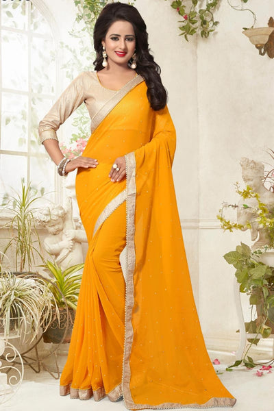 Georgette Designer Sarees Yellow Colored Pearl Lace Border Partywear Saree