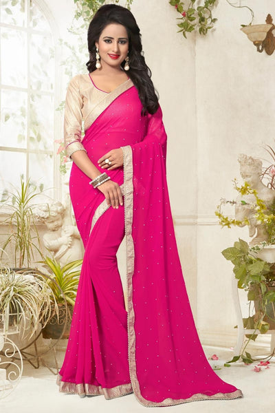 Partywear Sarees Pink Colored Pearl Lace Border Georgette Sarees
