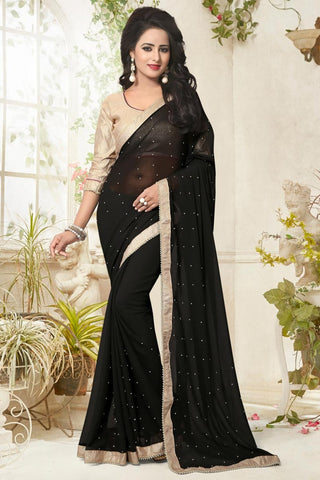 Designer Georgette Sarees Black Colored Georgette Pearl Lace Border Saree