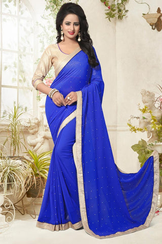 Partywear Sarees Blue Colored Georgette Designer Sarees With Pearl Lace Border