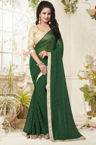 Latest Georgette Designer Sarees Green Colored Partywear saree With Pearl Lace Border