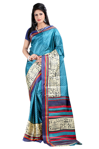 Latest Designer Blue Printed Saree For Women